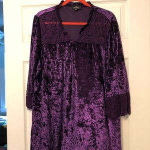 Suzanne Betro 3X Purple Velvet and Lace Top